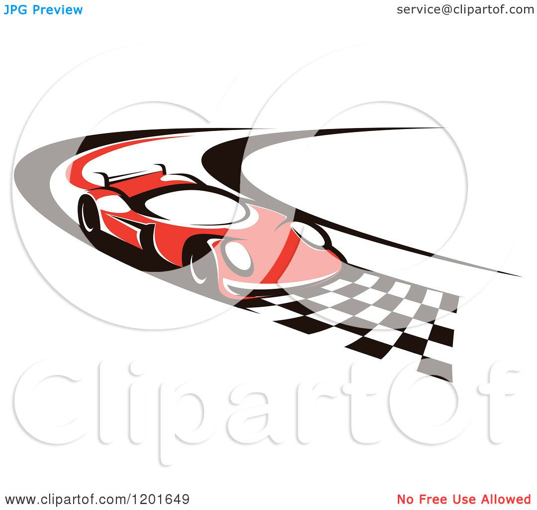 Clipart of a Red Race Car Driving down a Checkered Speedway.