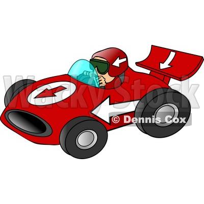 Driving a Fast Race Car Down a Speedway Clipart © Dennis Cox #5033.