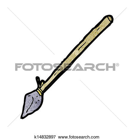 Clip Art of cartoon primitive axe and spear k22276278.