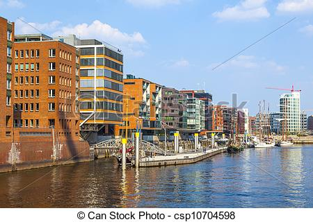 Stock Photographs of famous Hafencity nord in the Speicherstadt in.