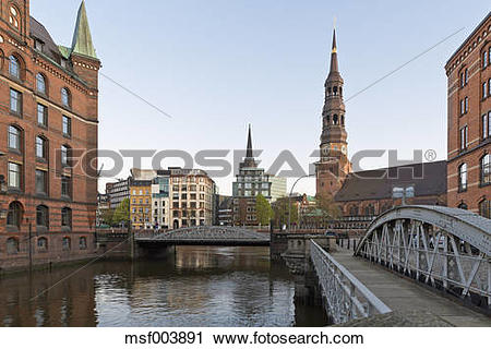 Stock Photography of Germany, Hamburg, Bridge and church in.