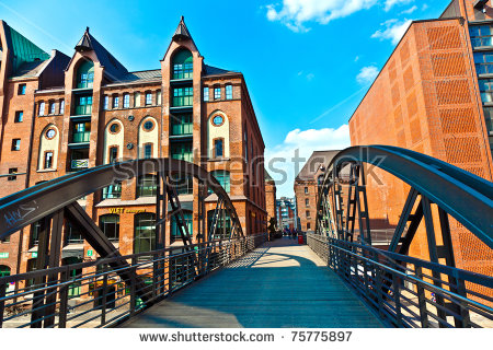 Famous Old Speicherstadt In Hamburg, Build With Red Bricks Stock.