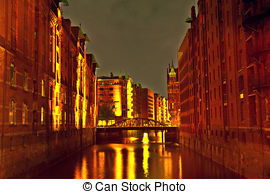 Stock Photos of Speicherstadt in Hamburg by night csp7712123.