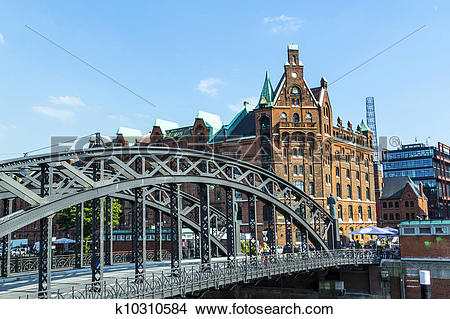 Stock Photo of Brooks Bridge at the speicherstadt in hamburg.
