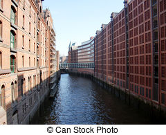 Stock Photo of Speicherstadt in Hamburg, Germany.
