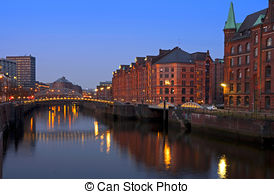 Picture of Speicherstadt at night in Hamburg.
