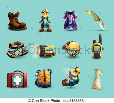Clipart Vector of Speleology 3d icons set.