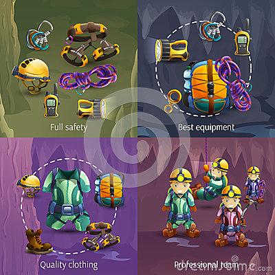 Speleology Stock Illustrations.
