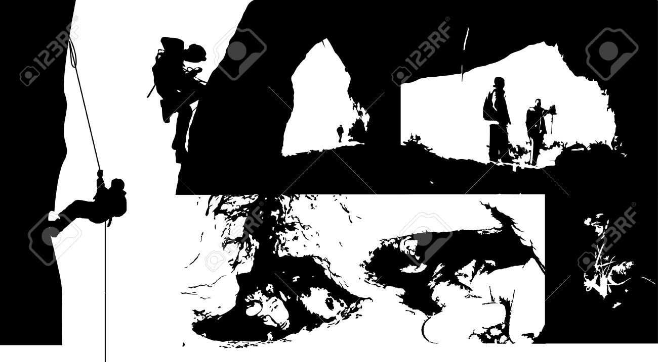 Speleology Silhouettes Royalty Free Cliparts, Vectors, And Stock.