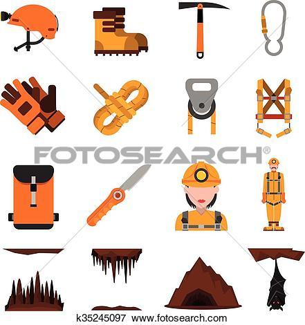 Clip Art of Speleology Flat Icons Set k35245097.