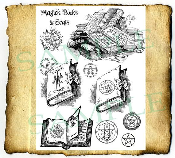 Digital Graphic Magic Spell Books.