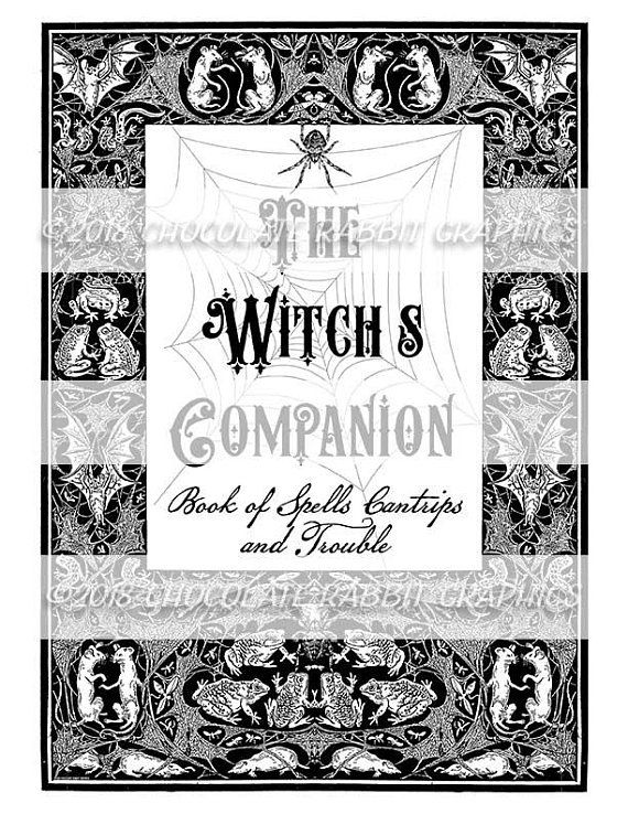 Halloween Witch Companion Spell Book Cover, Printable Spell.