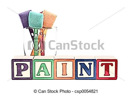 Clipart of Illustration Of Alphabet Blocks And Paint Sponges In A.