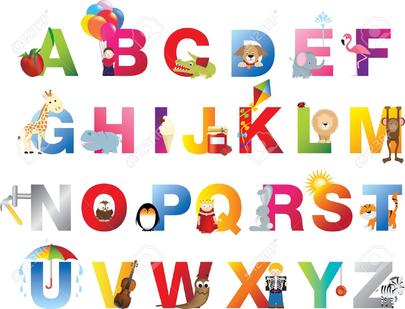 The Complete Childrens English Alphabet Spelt Out With Different.