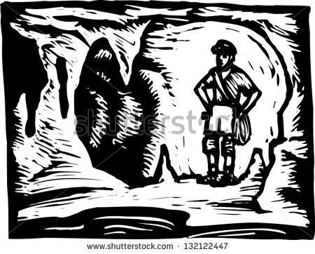 Black White Vector Illustration Spelunker Cave Stock Vector.