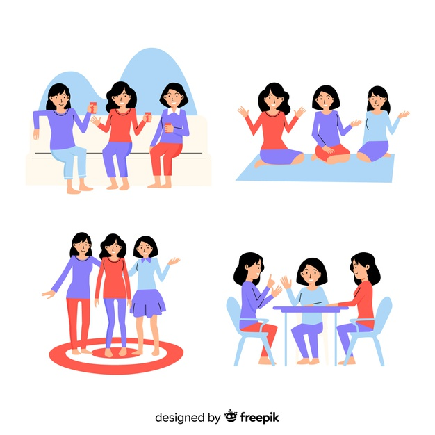 Collection of friends spending time together Vector.