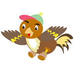 Vector Clip Art of Sparrow in cap and shoe.