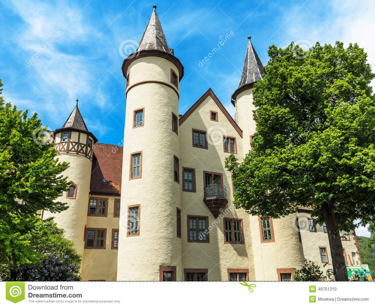 Snow White Castle In Lohr Am Main In The Spessart Mountains.