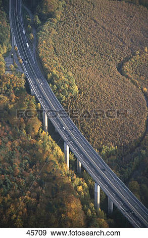 Stock Photograph of Aerial view of bridge, Haseltal Bridge.