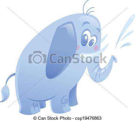 Clip Art Vector of Cartoon cute purple elephant animal spitting.