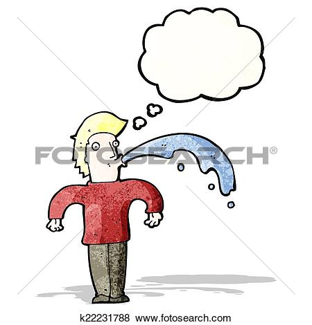 Clip Art of cartoon rude man spitting water k22231788.
