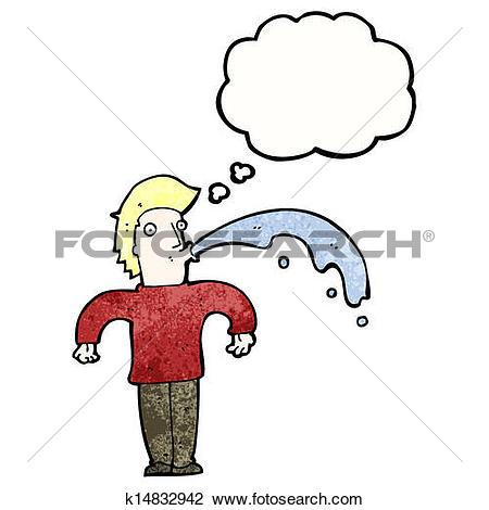 Clipart of cartoon rude man spitting water k14832942.