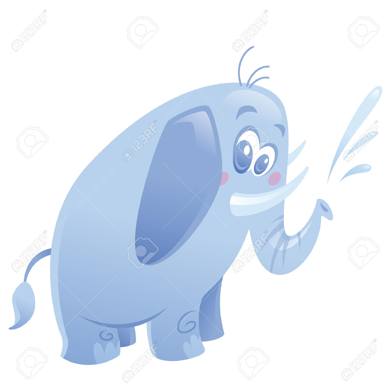 Cartoon Friendly Blue Elephant With Small Tusks Spitting Water.