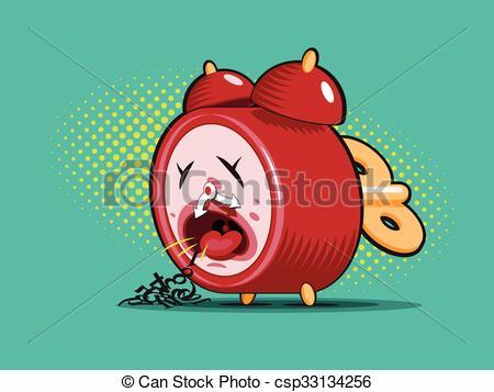 Clipart Vector of sick alarm clock.