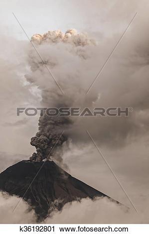 Stock Photography of Tungurahua Volcano Spews Smoke And Ash.
