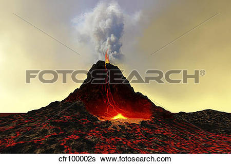 Stock Illustration of An active volcano spews out hot red lava and.