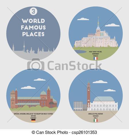 Clipart Vector of World famous places. Set 3: Mont Saint Michel.
