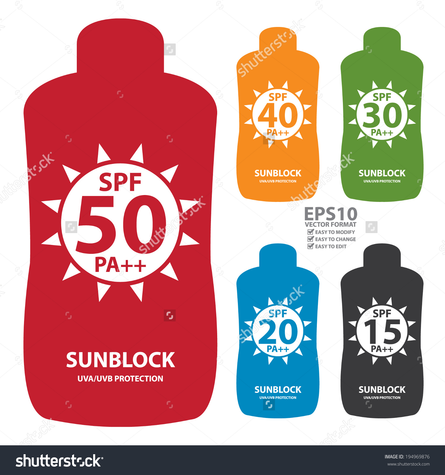 Vector Colorful Spf 1550 Pa Sunblock Stock Vector 194969876.