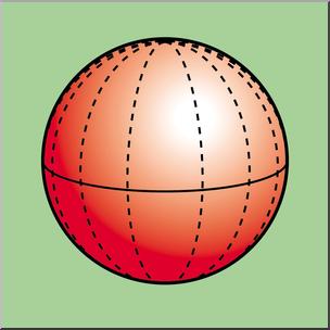 Clip Art: 3D Solids: Sphere Color I abcteach.com.