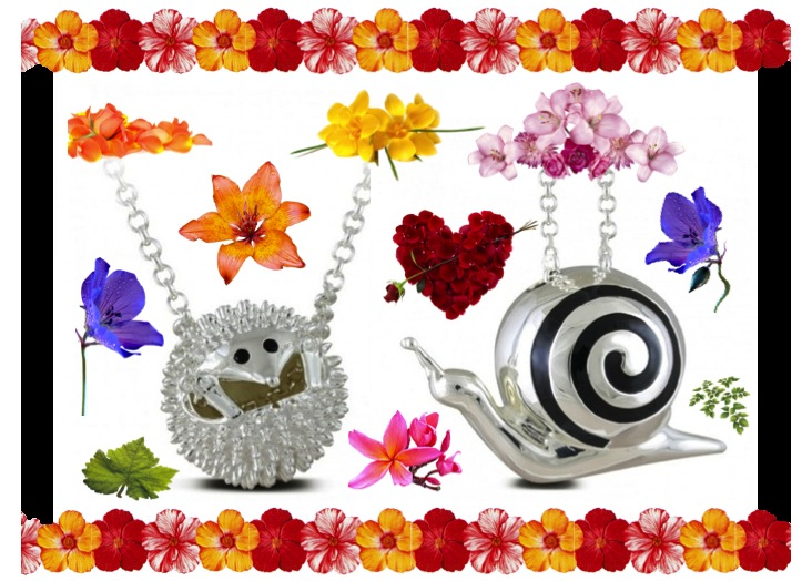 Sphere of Life Hedgehog and Snail Necklace.