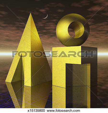 Stock Photography of Basic shapes, cube, sphere, pyramid still.