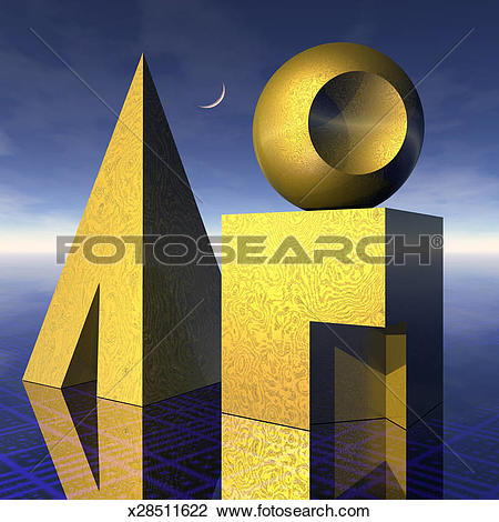 Stock Photo of Basic shapes, cube, sphere, pyramid still life.