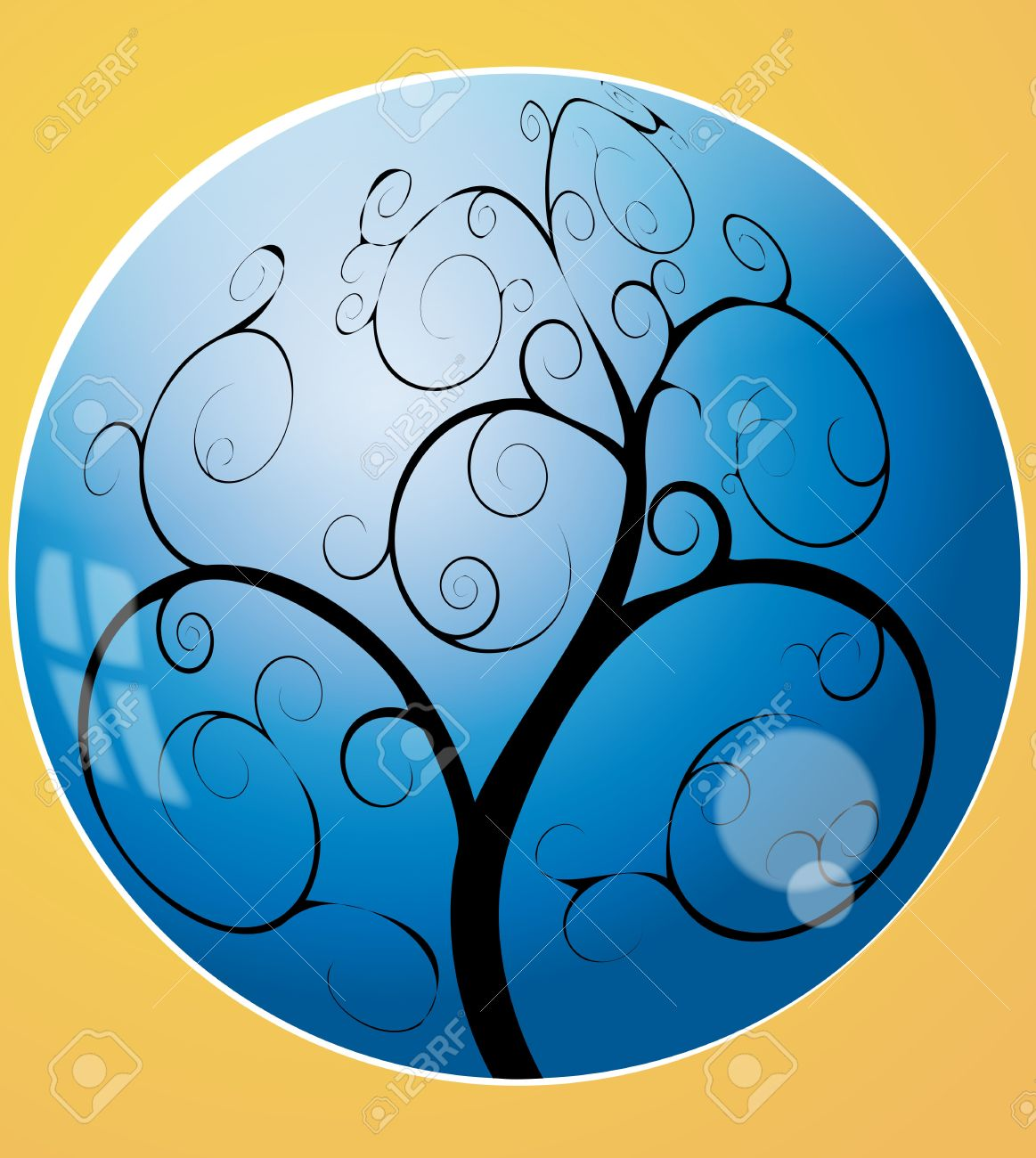 Illustration Of Swirl Tree In The Blue Sphere Royalty Free.