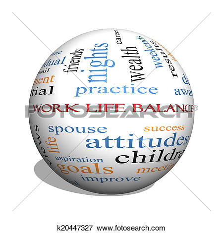 Picture of Work Life Balance 3D sphere Word Cloud Concept.