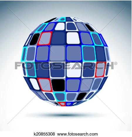 Clip Art of Gray urban spherical fractal object, 3d metal mirror.