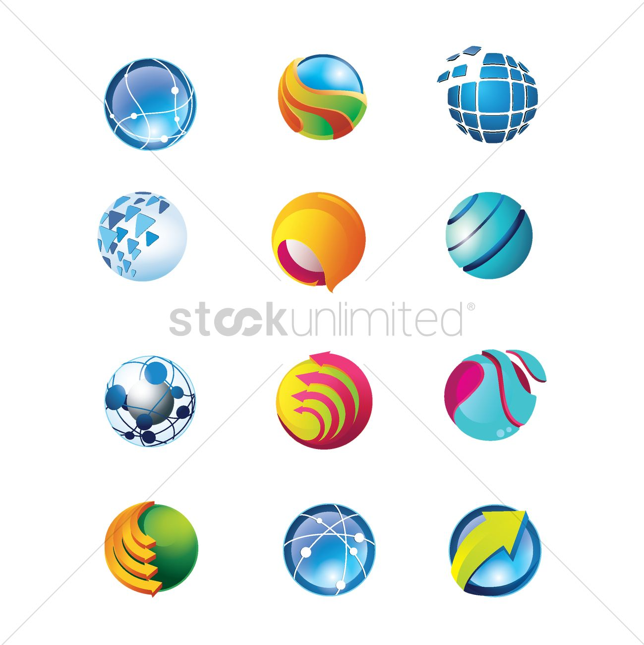 Spherical logo element design collection Vector Image.