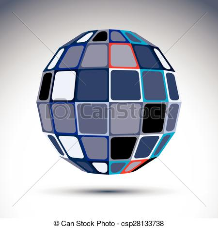Vectors of Gray urban spherical fractal object, 3d metal mirror.