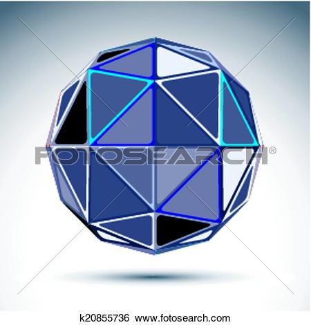 Clip Art of Complicated gray urban spherical object, 3d fractal.