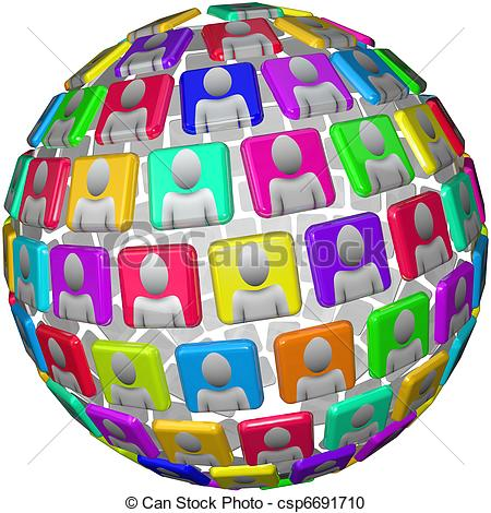Stock Illustration of People in Spherical Pattern.