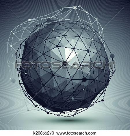 Clipart of 3D mesh modern style abstract background, spherical.