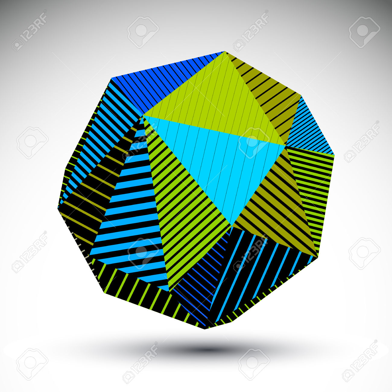 Vivid Abstract 3D Spatial Vector Contrast Figure, Art Spherical.