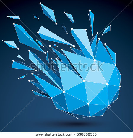 Vector Dimensional Wireframe Object Spherical Demolished Stock.