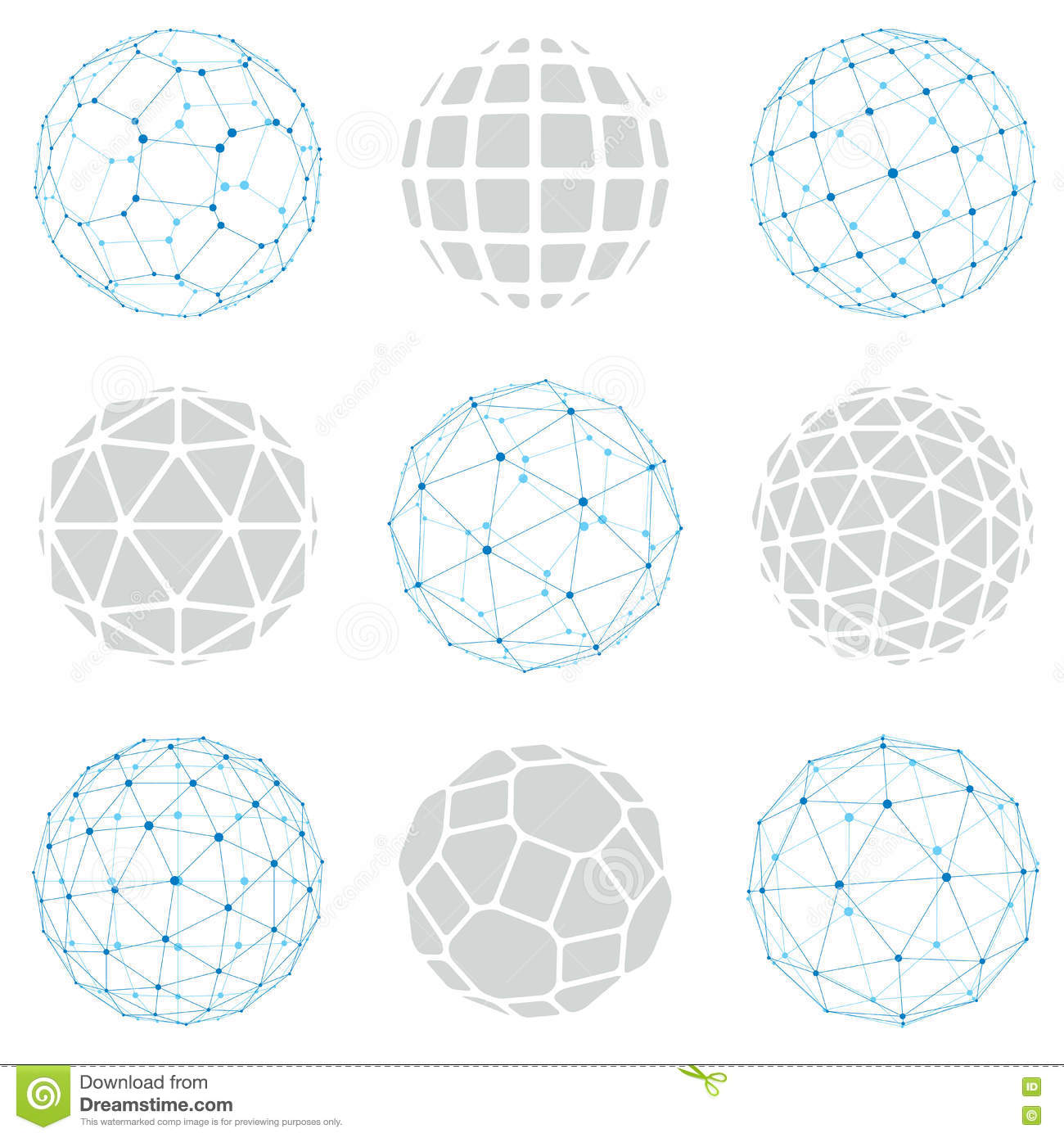 Set Of Vector Low Poly Spherical Objects With Connected Lines An.