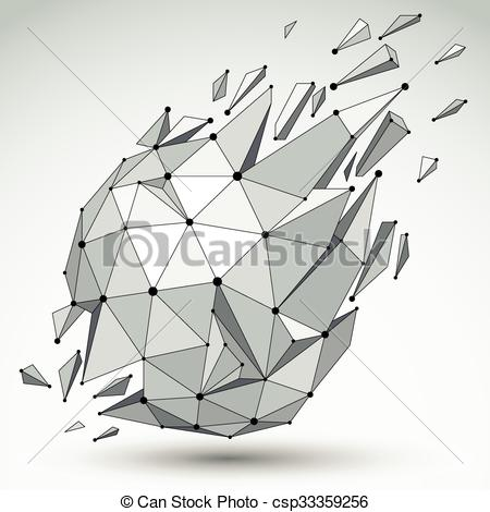Clipart Vector of 3d vector low poly spherical object with black.