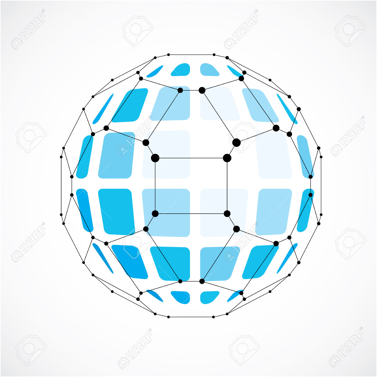 Vector Dimensional Wireframe Low Poly Object, Spherical Blue.