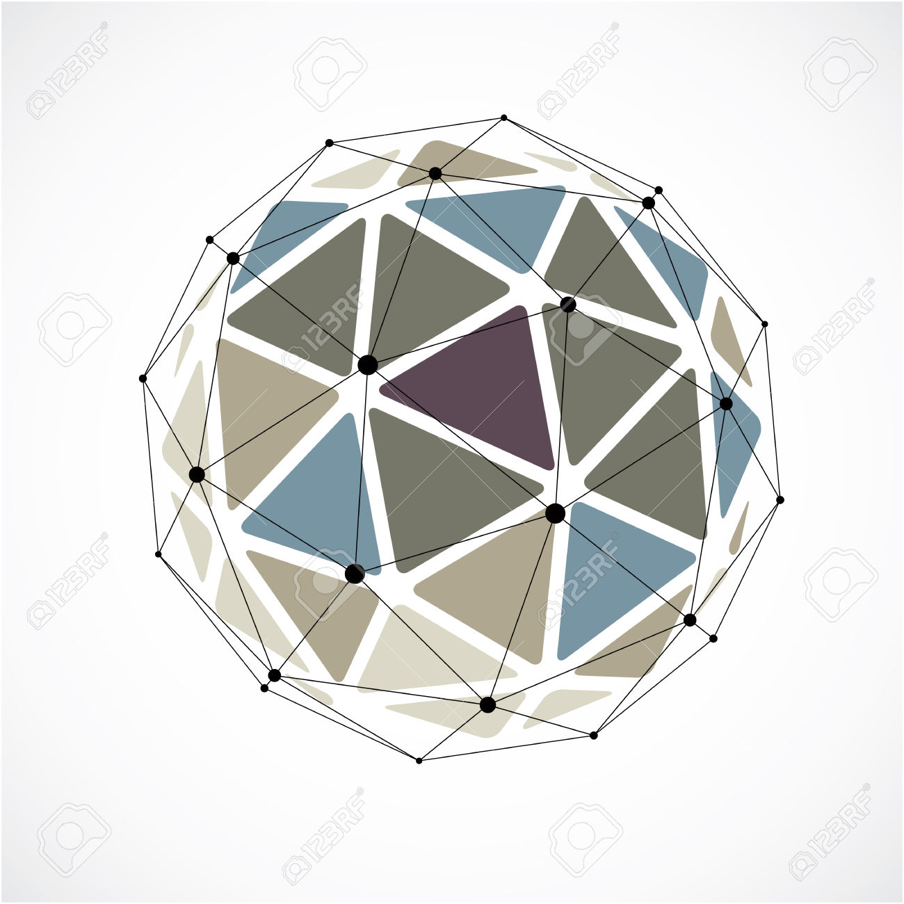 Vector Dimensional Wireframe Low Poly Object, Colorful Spherical.